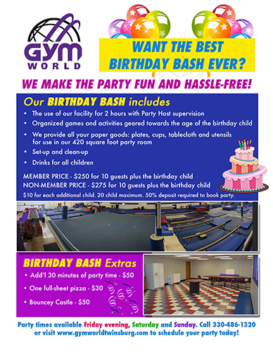 After the fun in the gym, party in our 420s/f party room!